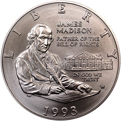 1993 W James Madison Father of the Bill of Rights Coin Half Dollar Uncirculated US Mint ()