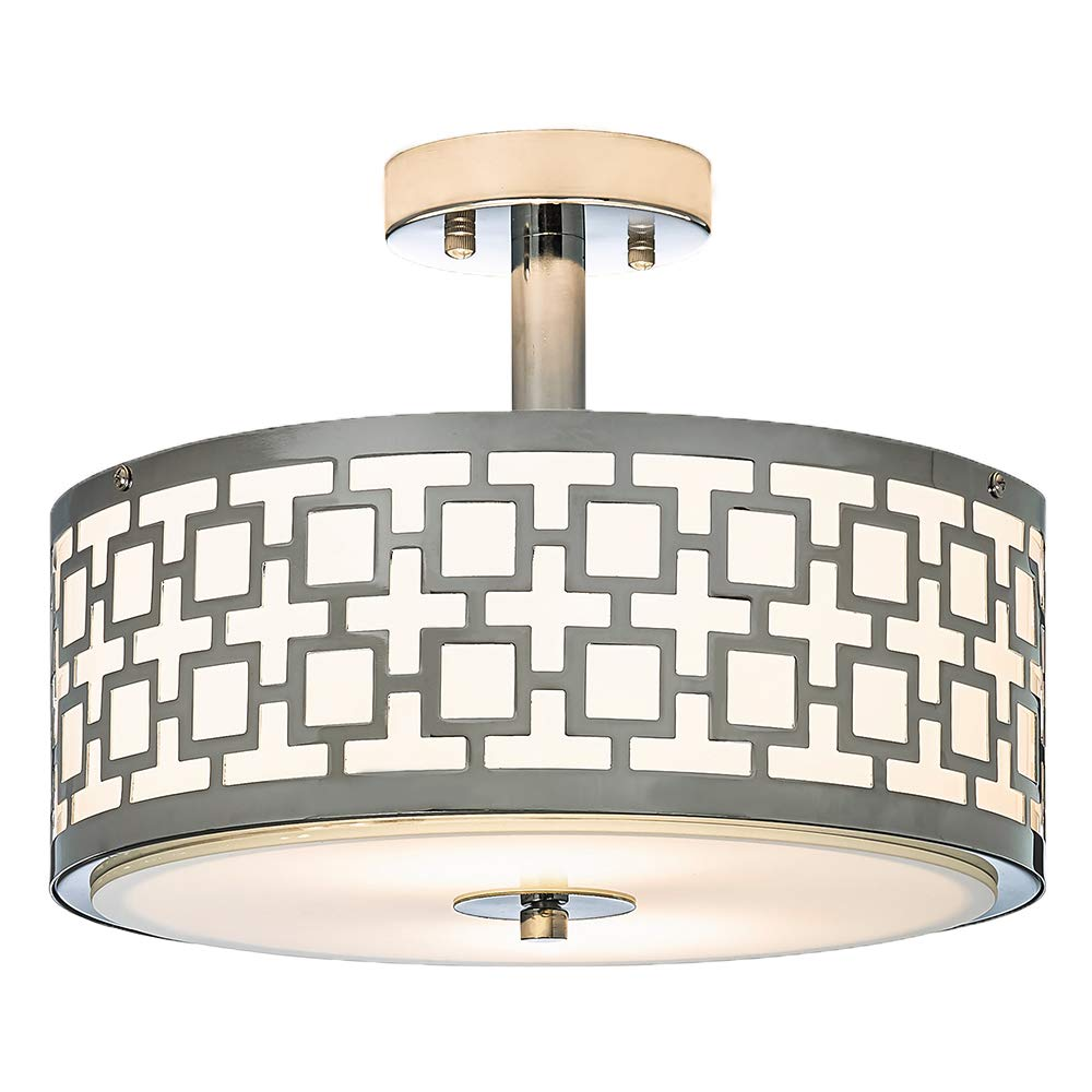 POPILION Chrome Finish Flush Mount Ceiling Light,Ceiling Light Fixture Tempered Glass Acrylic