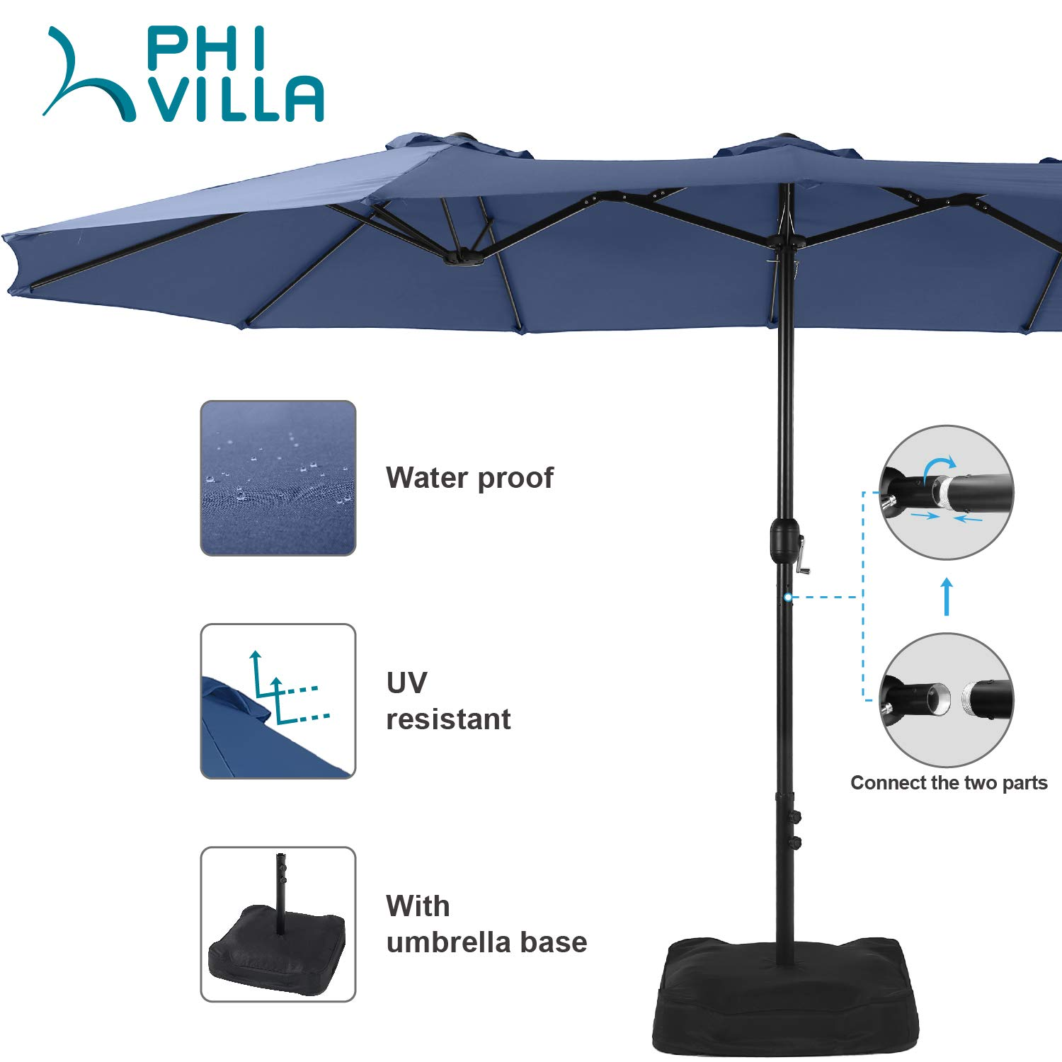 PHI VILLA 15ft Patio Umbrella Double-Sided Outdoor Market Extra Large Umbrella with Crank, Umbrella Base Included Blue