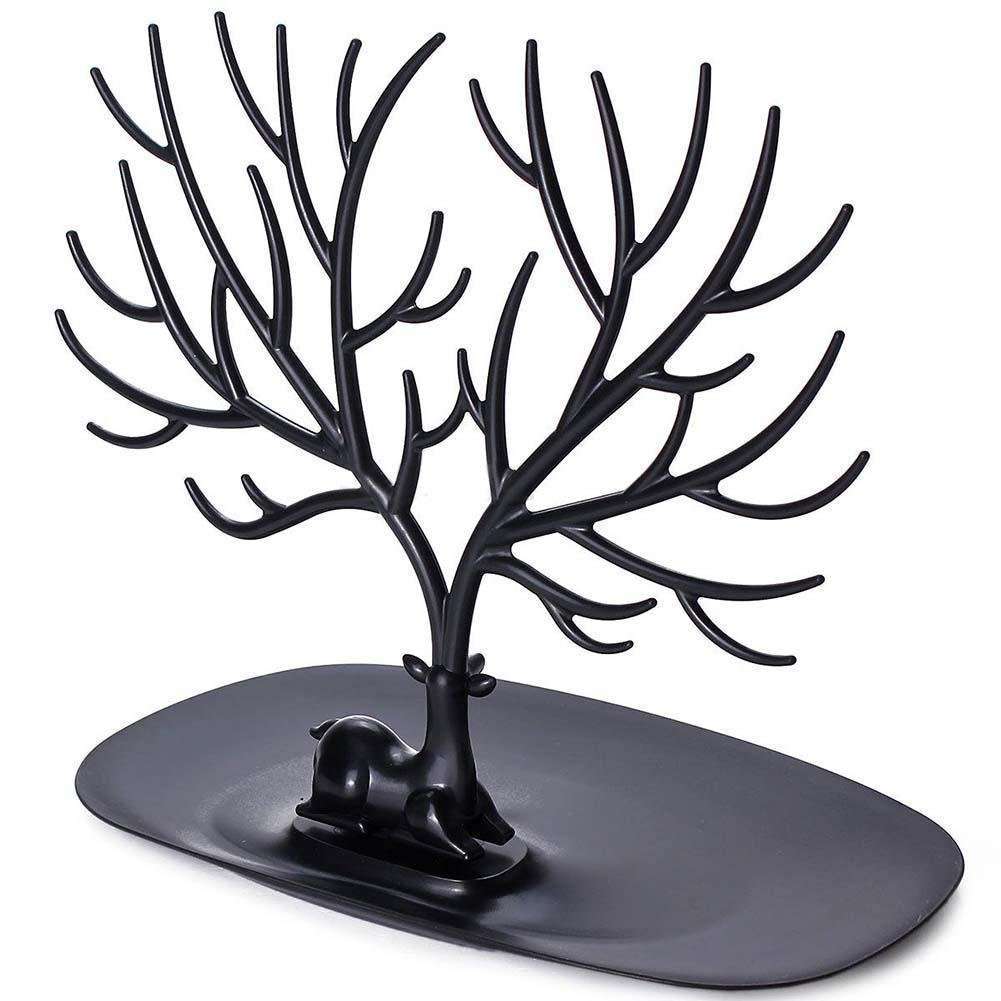 Antlers Jewelry Organizer - Hanging Stand Display Earring Necklace Bracelet Holder Rack Tower Tree ABS- Black CrazySound cs17061901
