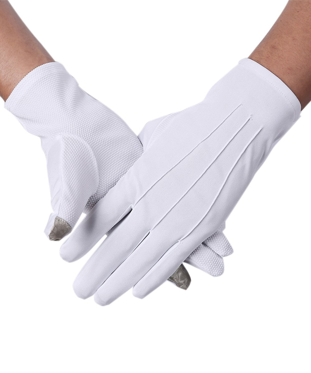 JISEN Men Police Formal Tuxedo Honor Guard Parade Nylon Cotton Gloves 26cm CMG00384