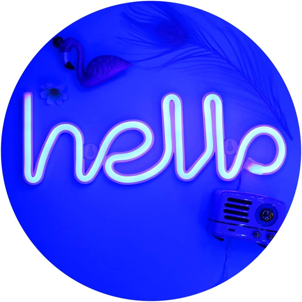 LED Hello Neon Signs Letter Lights Room Decor Battery or USB Powered 4.5V Art LED Decorative Lights Night Lights Indoor for Home, Bedroom, Office,Dorm,Party (Blue)