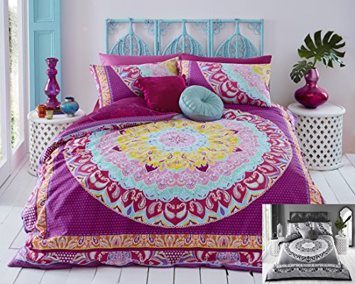 Paisley Mandala Duvet Cover & Pillowcase Set Bedding Digital Print Quilt Case Bedding Bedroom Daybed (Double, Pink (Multi))