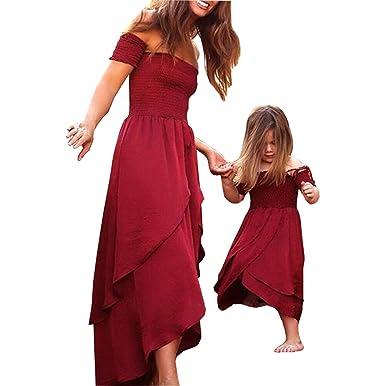 790d1ea4cb0d1 WangsCanis Vêtements Famille Assorti Mère et Fille Robe Longue en Epaule  Nue Robe pour Femme et