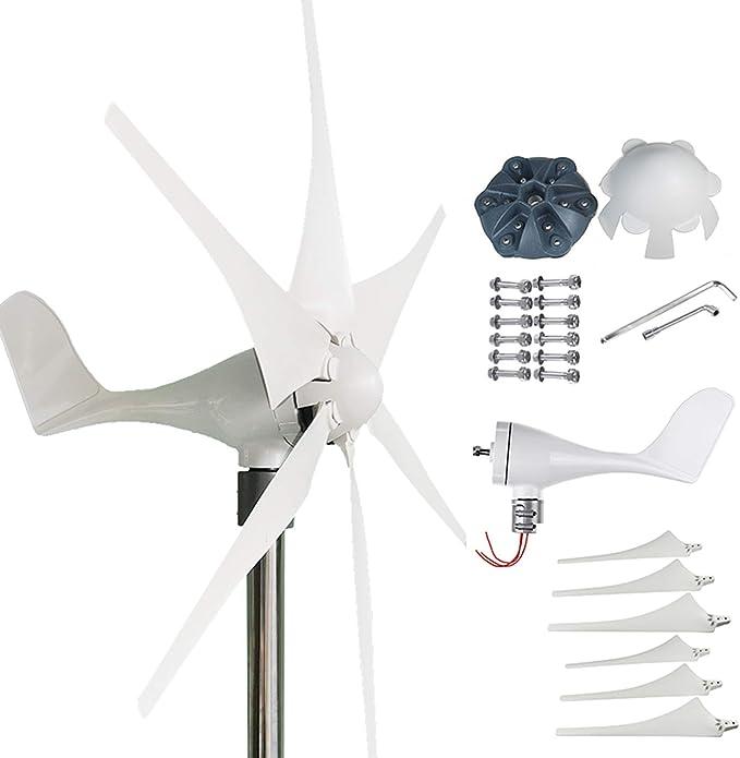 Kücheks Generador de turbinas eólicas 6000W, 6 aspas Molino de Viento casero sin Brida Asiento más fácil de Instalar, 24v