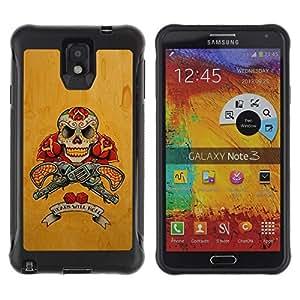 Suave TPU GEL Carcasa Funda Silicona Blando Estuche Caso de protección (para) Samsung Note 3 / CECELL Phone case / / Guns Pistols Skull Yellow Rose War /