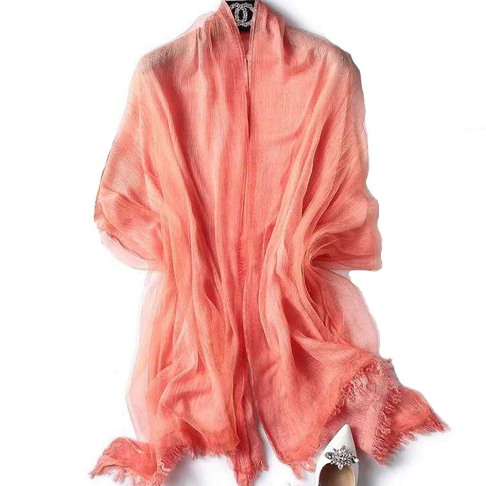 orange Scarf With Double Layers  OKEER Unisex Solid color Silk Cotton Fabric Scarves Wraps