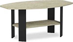 FURINNO Simple Design Coffee Table, Cream Faux Marble/Black