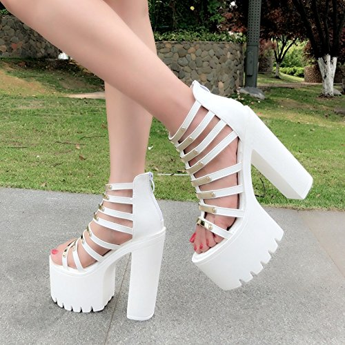 zapatos cm cinturones 14 3133 super negro mujer 39 Nuevo heeled XiaoGao high de ahuecado sandalias IfwPxnzq