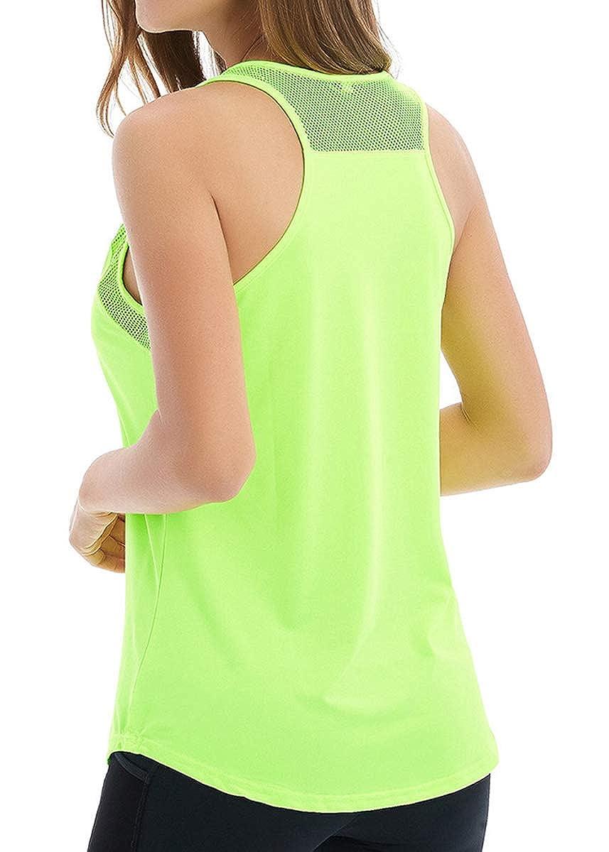 Fihapyli Womens Backless Mesh Yoga Tanks Sport Workout Tank Tops