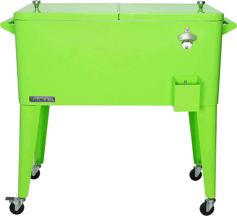 Permasteel PS-A203-LI 80 Quart Portable Rolling Patio Cooler, Lime
