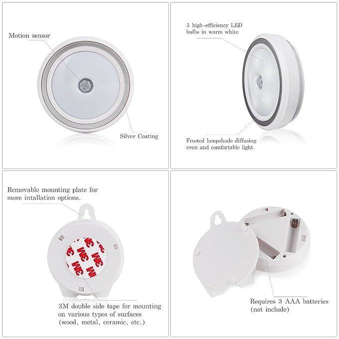 HueLiv Noche de luz LED, activada por movimiento, funciona con pilas, para armario, gabinete, guardarropa (Pack de 2): Amazon.es: Iluminación