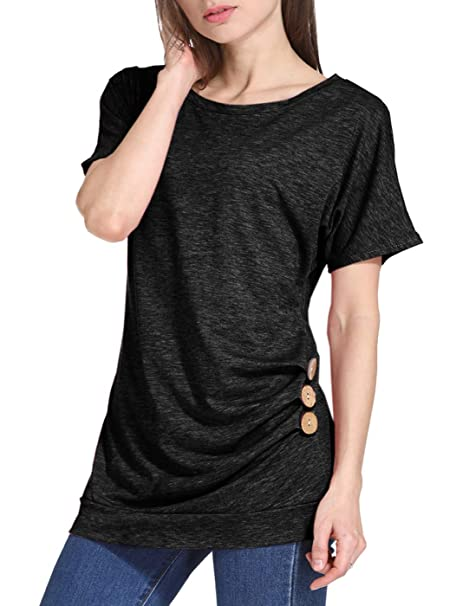 LYXIOF Women s Casual Tunic Top Short Sleeve Blouse T-Shirt Button Decor  A-Black