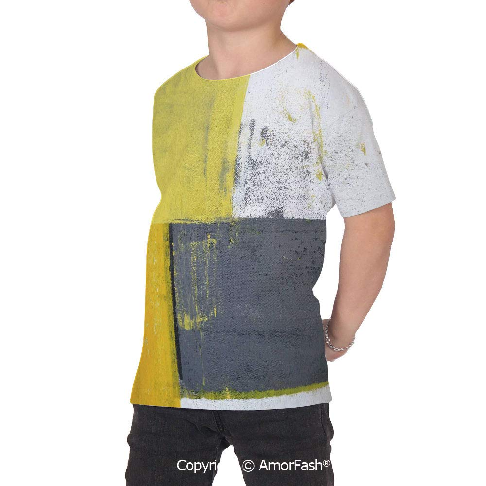 Grey and Yellow Colorful Boys and Girls Soft Short Sleeve T-Shirt,Street Art Mod