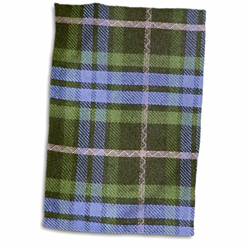3D Rose Blue and Green Tartan Pattern with Black and Grey...