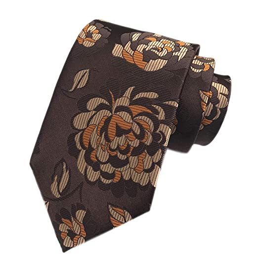 9f9a7dda54b5 Men's Classic Brown Bronze Flowers Jacquard Woven Ties Luxury Business  Neckties at Amazon Men's Clothing store: