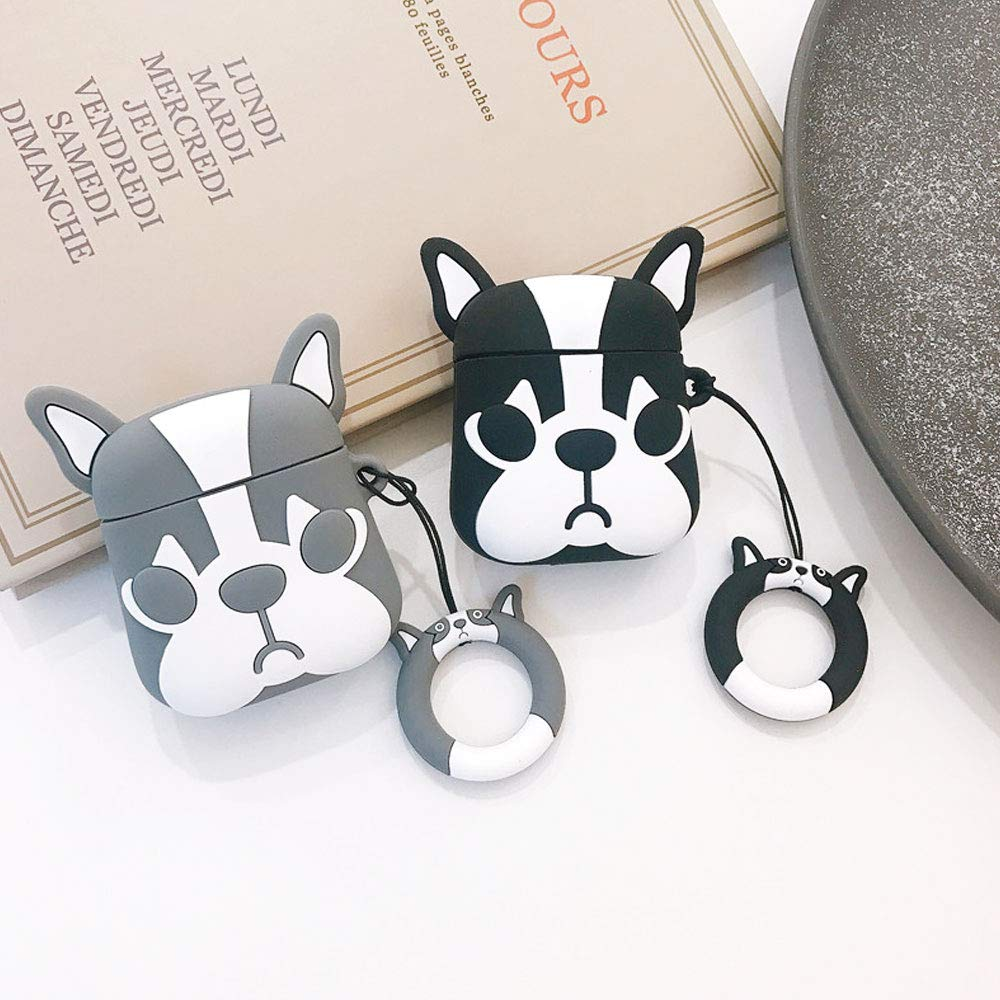 BONTOUJOUR AirPods Case, Super Cute Creative Cartoon Bulldog Shape TPU Silicone Cover Protective Skin for Apple AirPods 1&2+Finger Lanyard-Grey