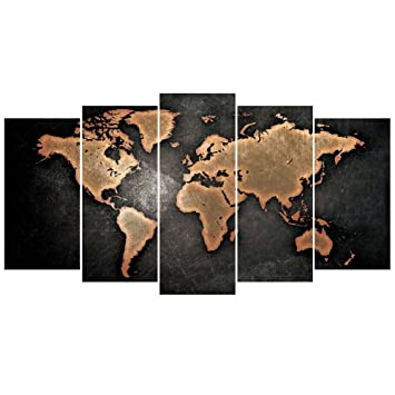GEVES 5 Pcs World Map Wall Art Giclee Print Posters For Living Room Home Decor Pictures