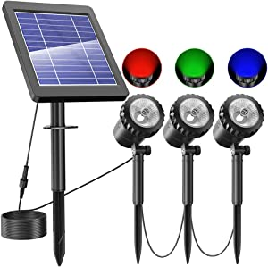 NFESOLAR Solar Spotlights Outdoor, IP68 Waterproof RGB Solar Landscape Spotlights with 3 Lamps, RGB Solar Landscape Lights for Garden, Pond, Fountain, Yard, Lawn, Tree (RGB Color)