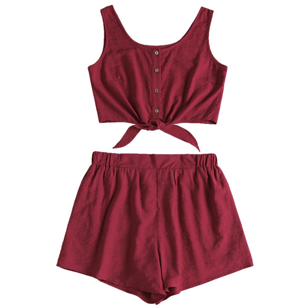 ZAFUL Women's 2 Piece Outfit Sleeveless Button up Crop Top and Shorts Set 2664086-YRUS-08-WXQ