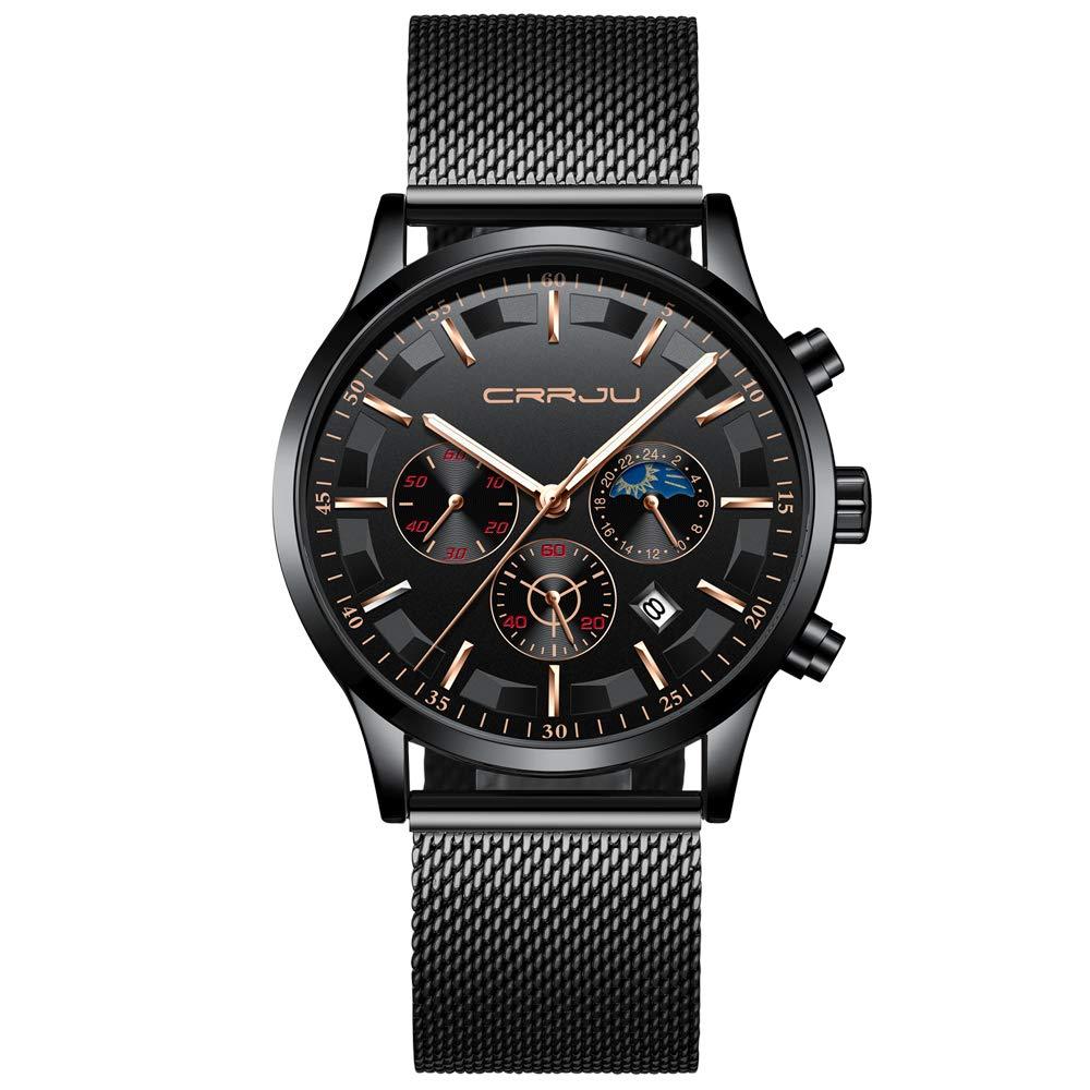 Men Minimalist Casual Quartz Wrist Watch Waterproof Black Stainless Steel Mesh Strap Watch for Men