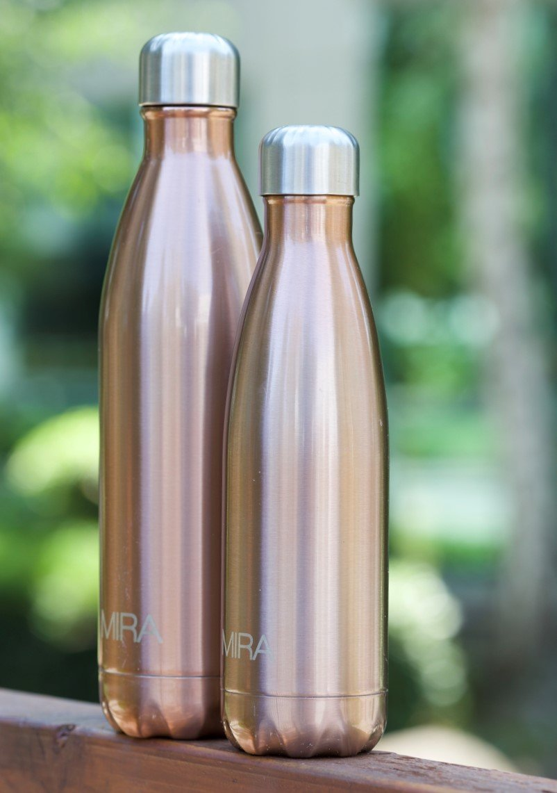 MIRA Vacuum Insulated Travel Water Bottle | Leak-proof Double Walled Stainless Steel Cola Shape Portable Water Bottle | No Sweating, Keeps Your Drink Hot & Cold | 17 Oz (500 ml) | Rose Gold