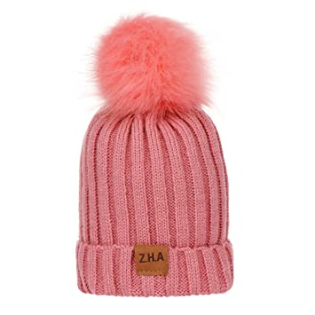 66fba9c66e6 Image Unavailable. Image not available for. Color  Baby Winter Warm Knit Hat  Infant Toddler Kid Crochet Hairball Beanie Cap (Pink)