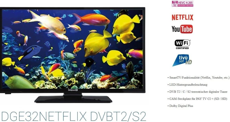 Digiquest dge32ne tflix 32 (81 cm) televisor LED Smart TV WIFI Triple DVB-S2/C/T2 H.265/hevc Clase energética A +: Amazon.es: Electrónica