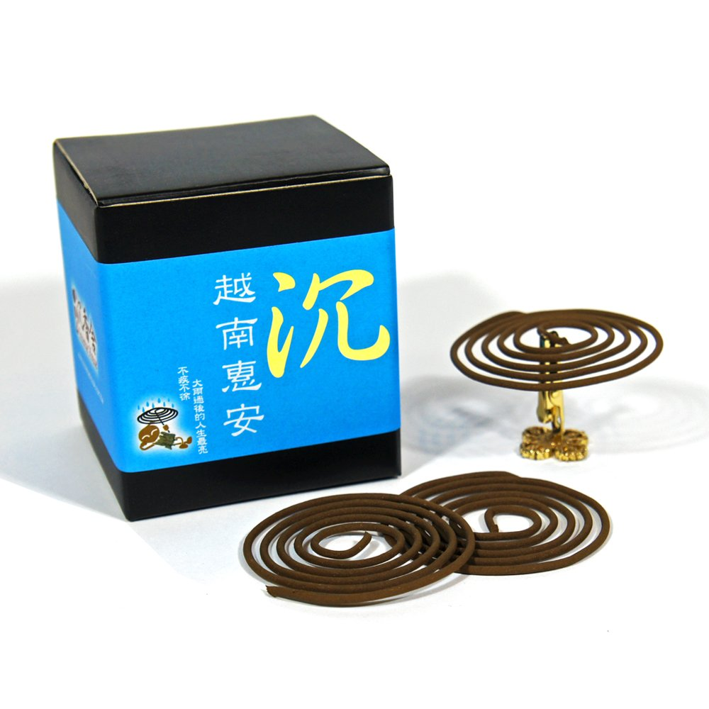 Vietnam Hoi-An Chen Xiang Agarwood Aloeswood Incense Coils 48pcs 3.5hrs with Incense Clip by IncenseHouse - Incense Coils