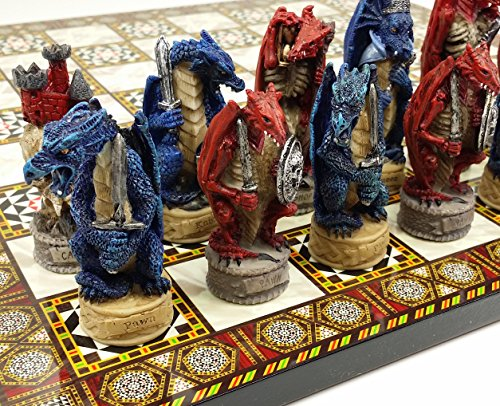 "HPL Red and Blue Medieval Dragon Fantasy Chess Set W/ 14 1/2"" Mosaic Color Board"