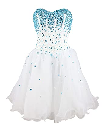 Strapless a Line Blue Crystal White Oranga Cheap Homecoming Dress Short Prom Dress (2)