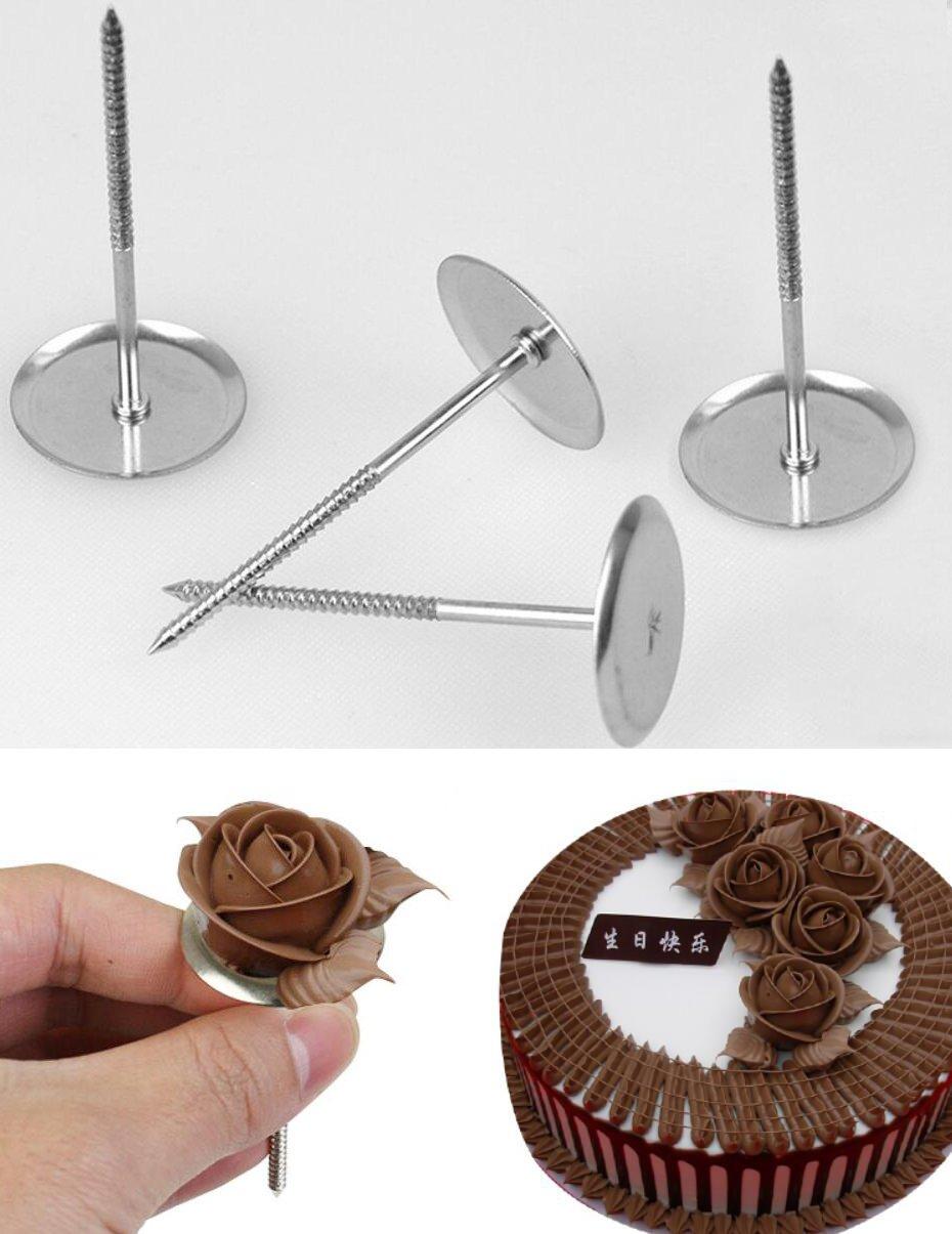 Flower Nails 4 Pcs/set, Food Grade Stainless Steel Cake Flower Decorating Tool Baking