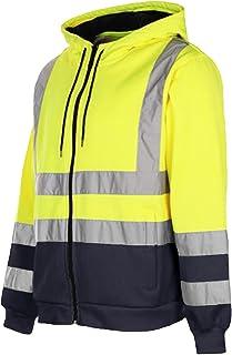 Mens Hoodie Hi Vis Visibility Safety Hooded Zip Sweatshirt Work Jacket Top EN471 HV008/