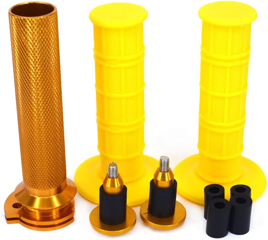 JFG RACING Gold CNC Aluminum Billet Twister Throttle Tube Bar Ends Cap Plugs For Yamaha RMZ250 04-06 RMZ450 05-06 08-17 RMX450Z 10-16 250SB 04-06