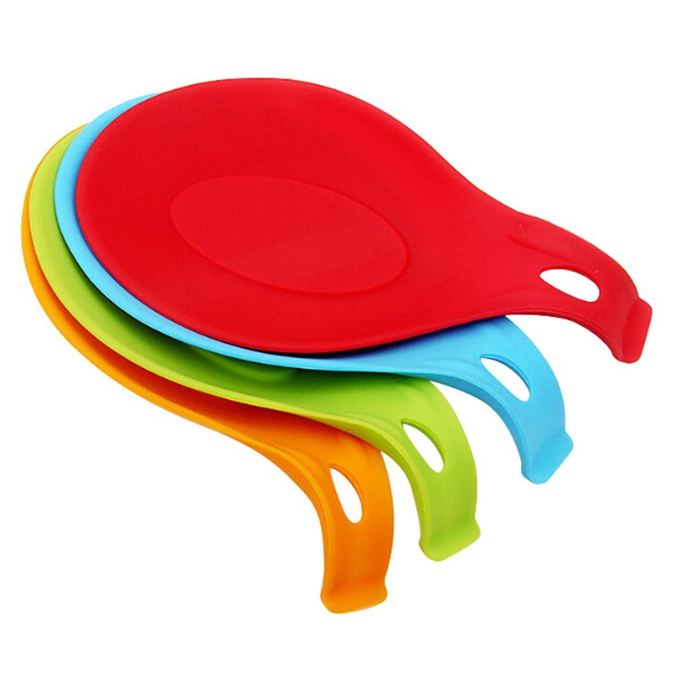 Bluelans® 1 x Silicone Spoon Rest Heat Resistant Teabag Tidy Holder Cooking Utensil Dish (Random Colour)