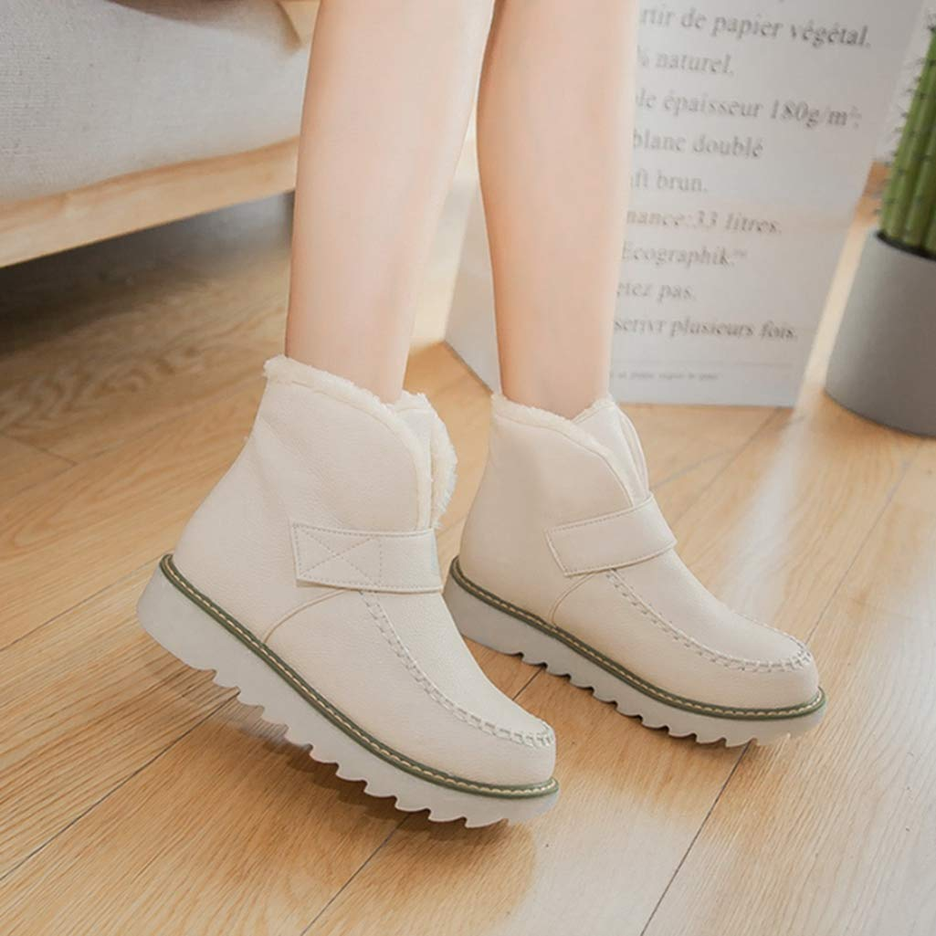 Womens Winter Fashion Warm Cute Fur Solid Slip-On Soft Ankle Bootie Round Toe Flat Snow Boots