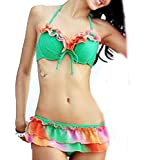 Womens Bikini Set Swimwear Brazilian Padded Top Swimsuit Solid Color Triangle Bottom Gray Medium