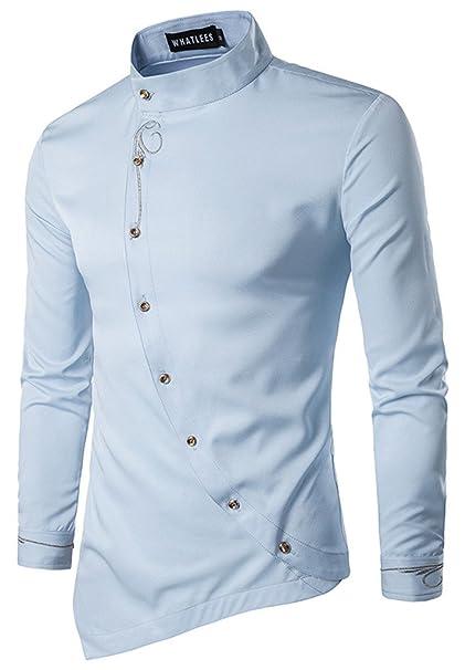 2c4fef887 HOP Men's Casual Irregular Longline Hem Slim Fit Button Down Dress Shirt  HOPM002-Blue-