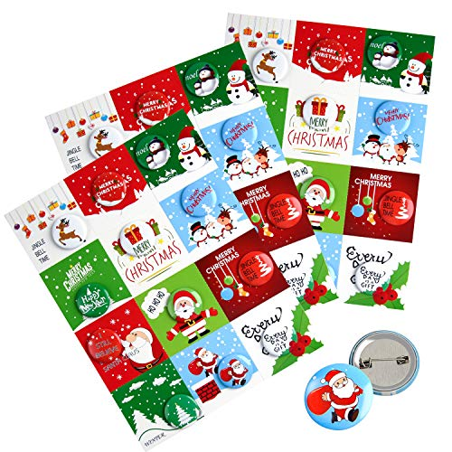 FEPITO 36 Pcs Merry Christmas Button Pins Mini Pinback Buttons with Christmas Cards for Kids Christmas Party Supplies
