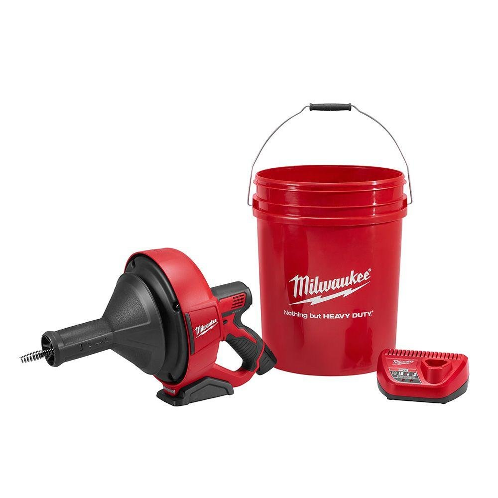 Milwaukee M12 12-Volt Lithium-Ion Drain Snake Kit | Hardware Tools Drain Auger Cleaner for Plumbers, Facility Maintenance and Property Managers or Jobsite Needs