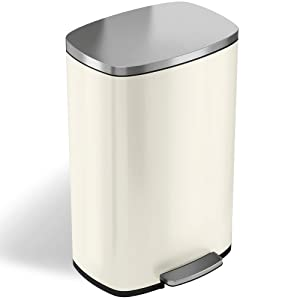 iTouchless SoftStep 13.2 Gallon Stainless Steel Step Trash Can with Odor Control System, 50 Liter Pedal Garbage Bin for Kitchen, Office, Home - Silent and Gentle Open and Close, Ivory White