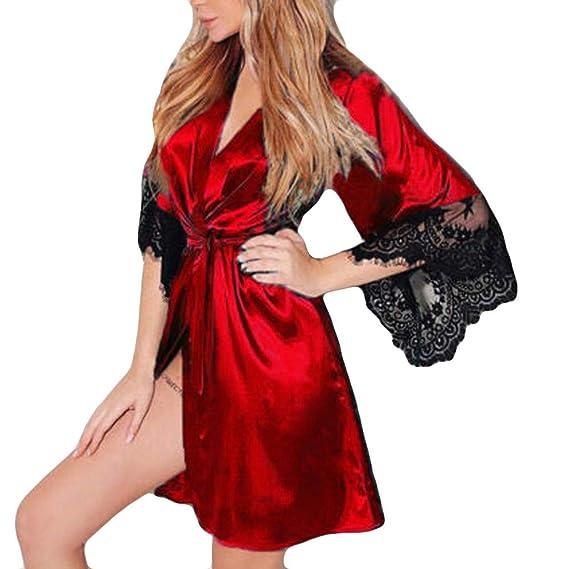 Lenfesh Batas Largas Kimono para Mujer Lenceria Ropa de Dormir Camisón de Encaje (XL,