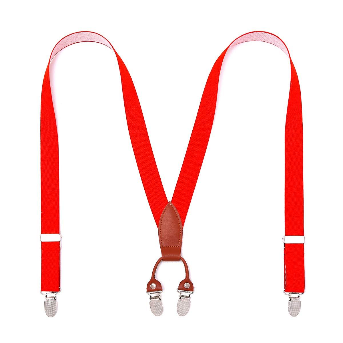 KANGDAI Bretelles pour enfants 4 pinces robustes Y retour élastique réglable 11 couleurs 5-12 ans bretelles pour garçons avec pinces en métal