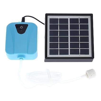 Anself - Bomba de Agua Oxígeno Solar Energía / DC Cargable, Aireador con 1 Piedra