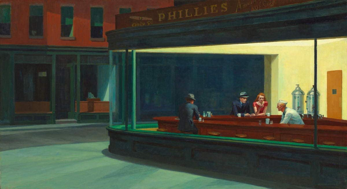Berkin Arts Edward Hopper Giclee Lienzo Impresión Pintura póster Reproducción Print (Halcones nocturnos)