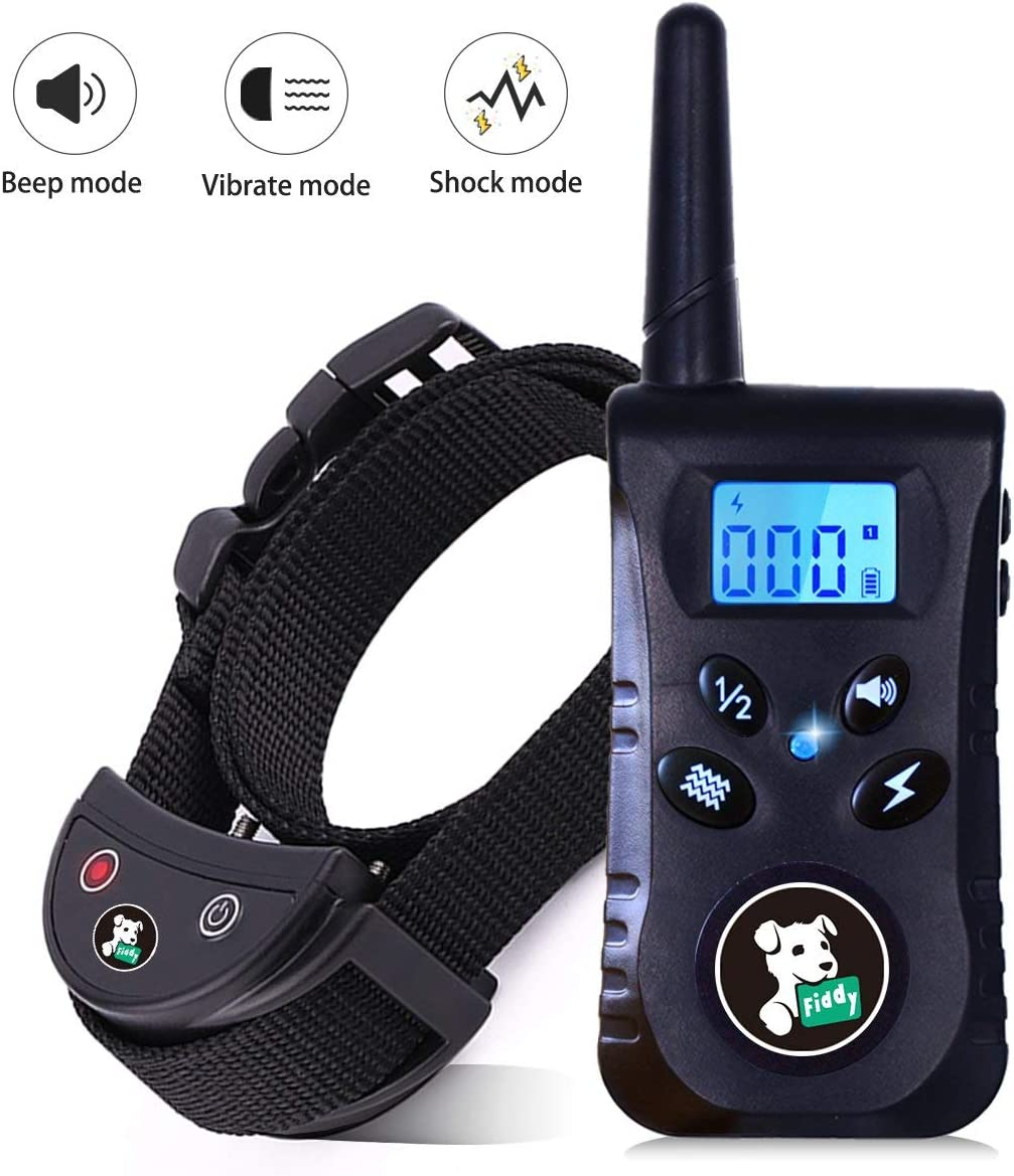 Fiddy Dog Training Shock Collar,Waterproof Bark Collar with Remote Control and 550 Yard Remote for Small Medium Large Dogs,Beep Vibration and Shock 3 Training Modes(Black)