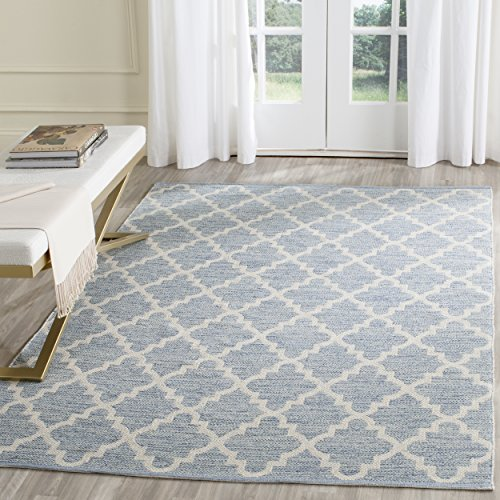 (Safavieh Montauk Collection MTK810B Handmade Flatweave Light Blue and Ivory Cotton Area Rug (4' x 6'))
