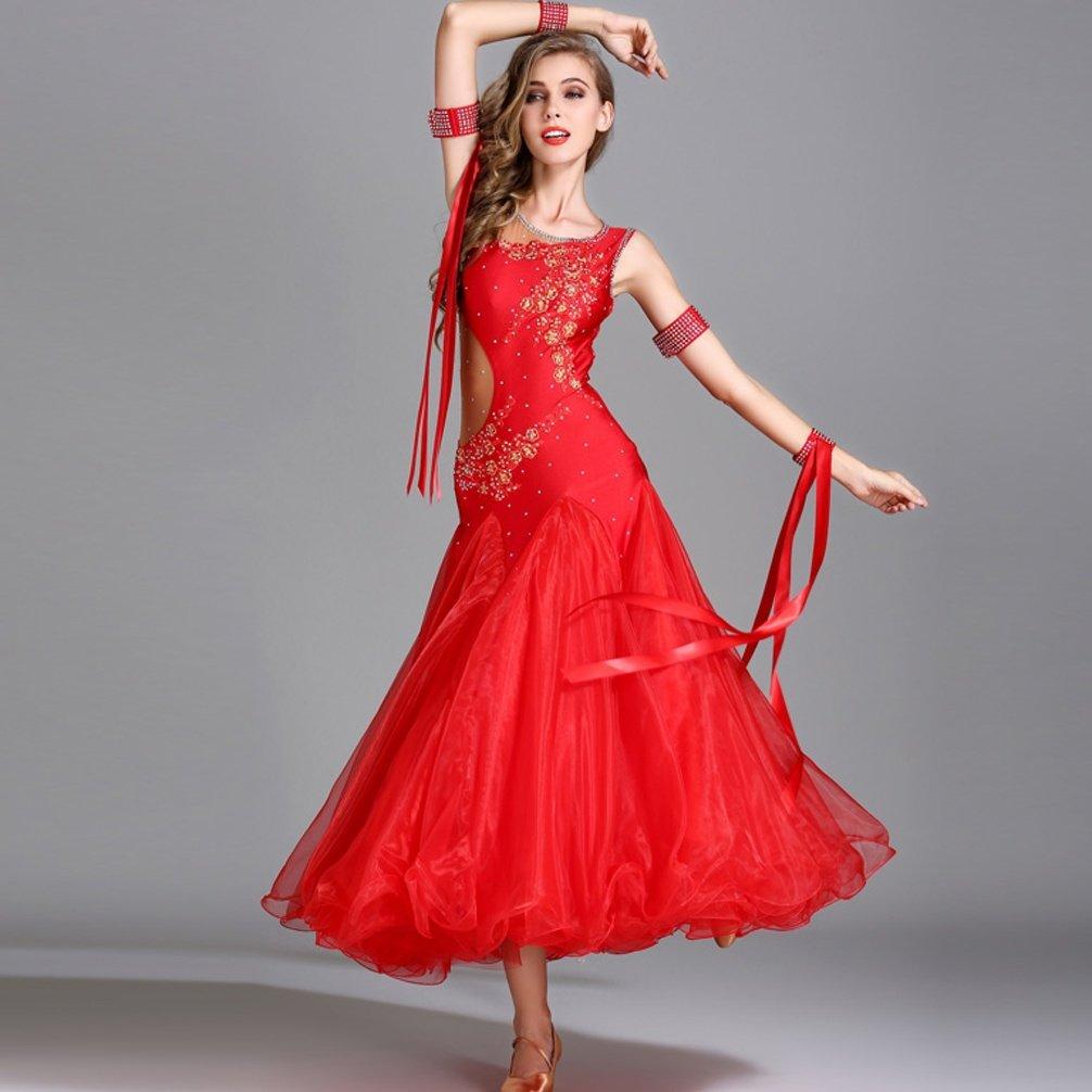 Adulto Gonna da Ballo Moderna Standard Nazionale Strass Abiti da Ballo da Sala da Competizione Grande Swing Foxtrot Tango Tuta da Prestazione