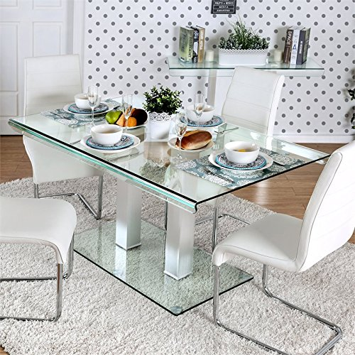 Molino Glass - Furniture of America Molina Glass Top Dinner Table in Silver