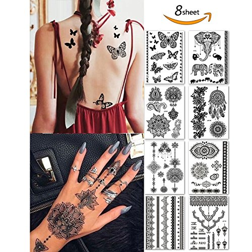 Black Henna Temporary Tattoo Stickers Henna Body Paints Designs for Women Girls (Pack of 6 Sheets) Black Henna Tattoos